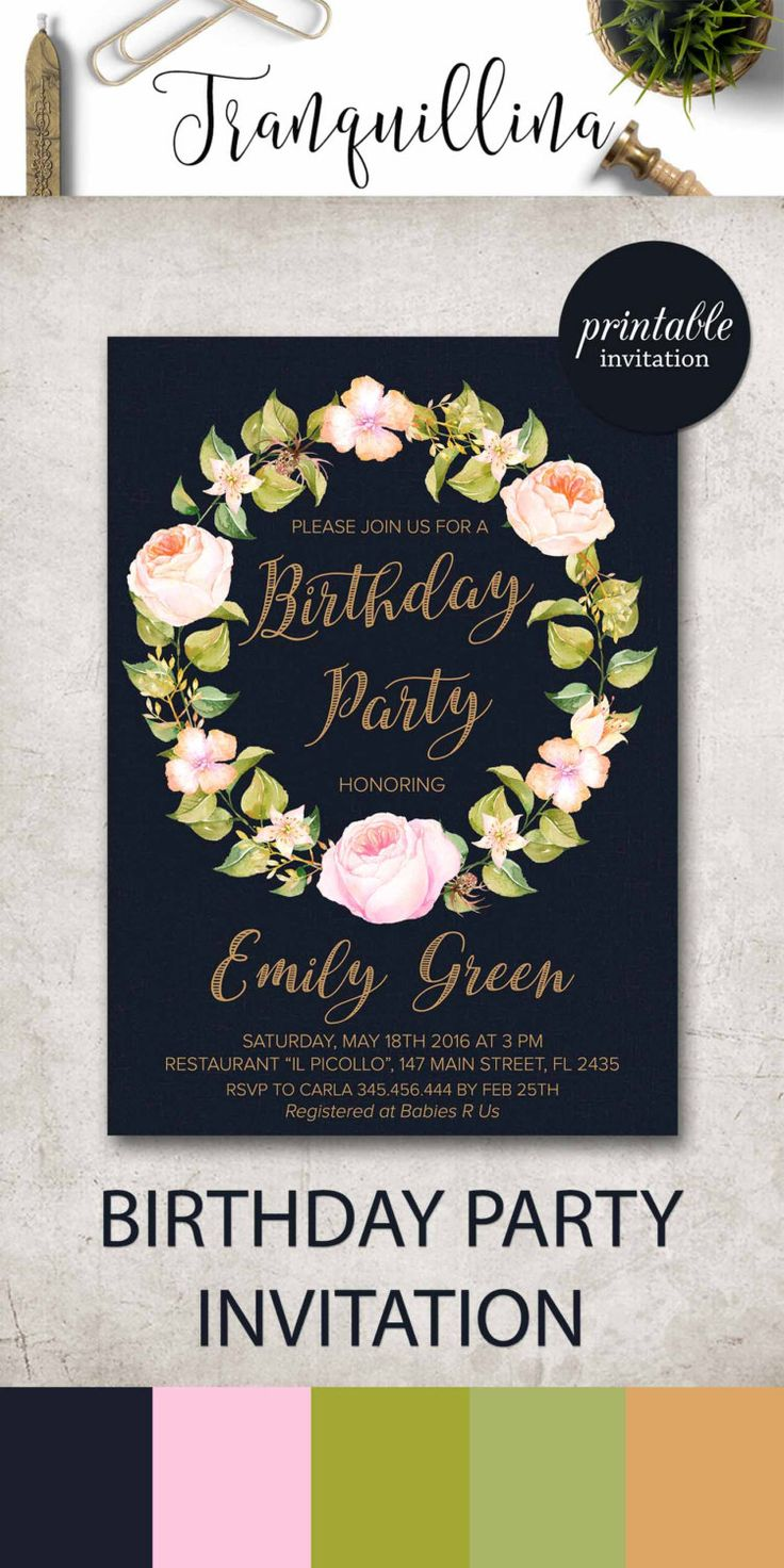 23 best Birthday Invitations by Tranquillina images on Pinterest ...