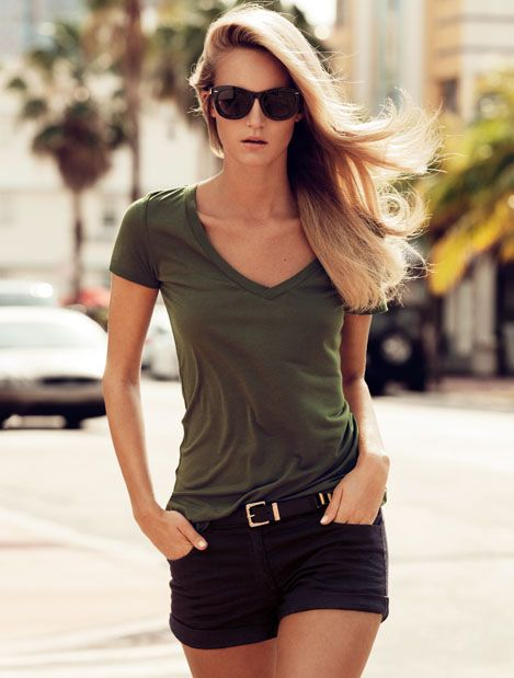 Ladies | H US  olive green v neck, black shorts, sunglasses. skater, casual, simple, basic, hangout, weekend, summer outfit.