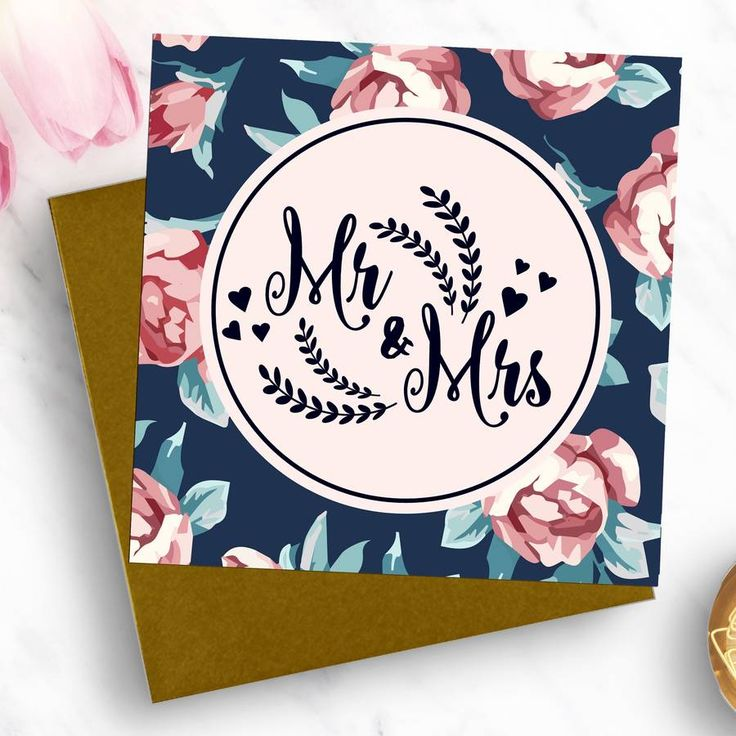 'Mr And Mrs' Luxury Wedding Card
