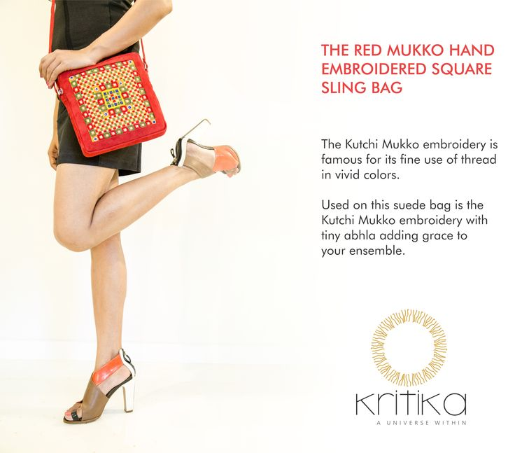 THE RED MUKKO HAND EMBROIDERED SQUARE SLING BAG The Kutchi Mukko embroidery is famous for its fine use of thread in vivid colors. Used on this suede bag is the Kutchi Mukko embroidery with tiny abhla adding grace to your ensemble. Connect on +91 9820530692 / 9820530664 or mail on sonal@kritikauniverse.com #kritikasuniverse #mukko #handemboidered #slingbag