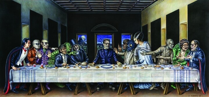 Classical horror monsters last supper