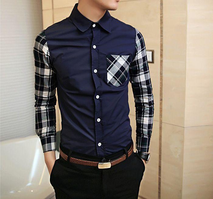 Fashionable shirt collar unique pocket plaid splicing long for Unusual shirts for men