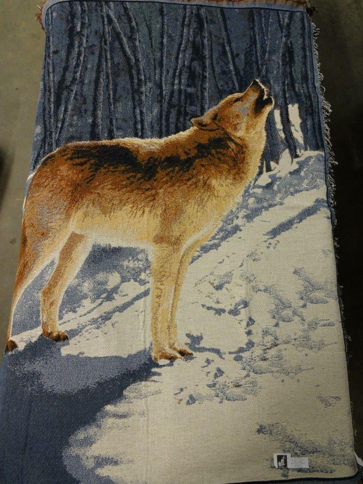 Decoratieve plaid met huilende wolf, geschenk cadeau