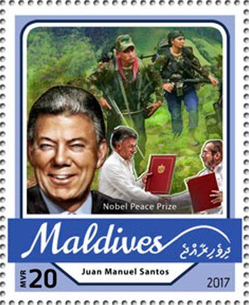 Stamp: Juan Manuel Santos, Nobel Peace Prize (Maldives) (Nobel Prize winners 2016) Mi:MV 6810