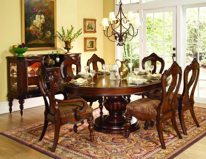 7 Pc Prenzo Collection Warm Brown Finish Wood Round Oval Pedestal Dining Table Set With Tuscan Inspired Accents This Includes The