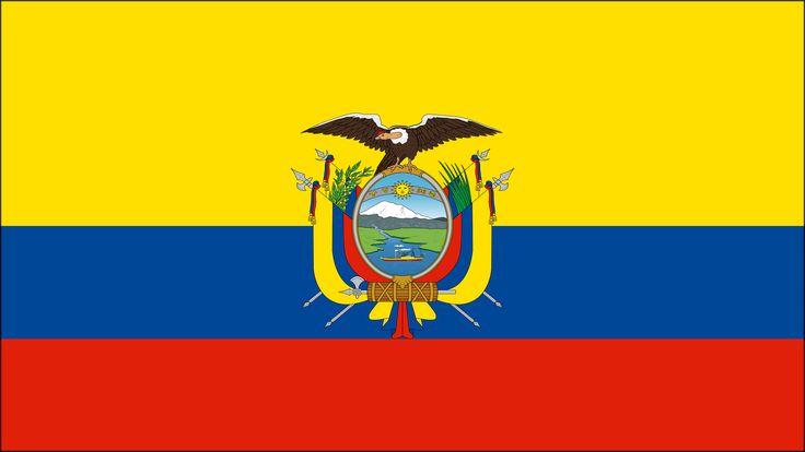 La bandera y el escudo de Ecuador