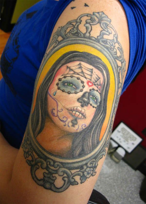 face girl girl shoulder tattoos skull face tattoos submit dead girl ...
