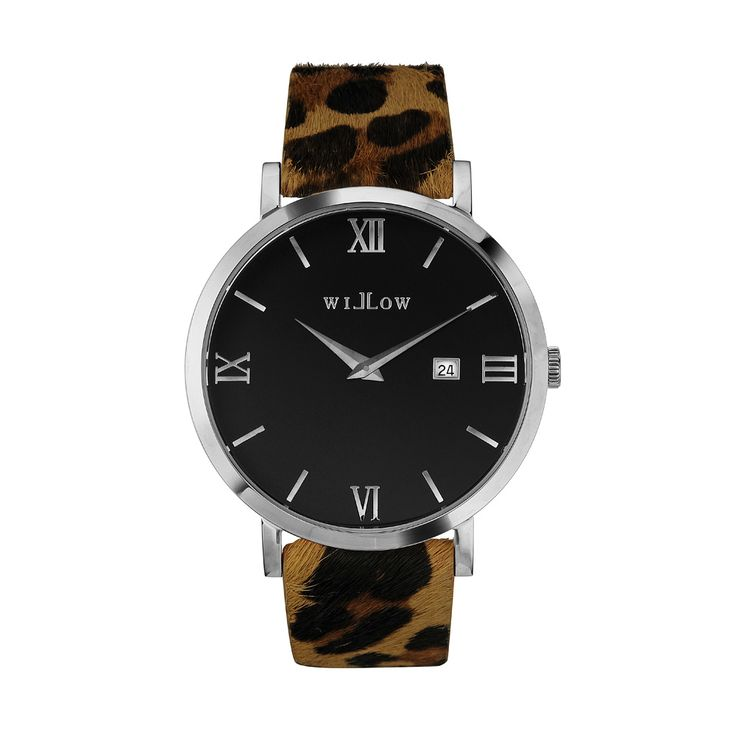 Treviso Silver Watch & Interchangeable Leopard Leather Strap.