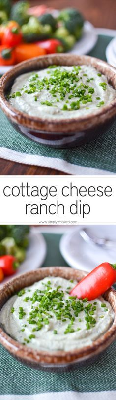 healthy & lactose free!!  Cottage Cheese Ranch Dip | simplywhisked.com