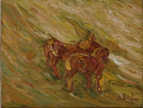Deux chevaux dans un champs - Peinture,  23x18 cm ©2009 par Serge KRIEF - Peintre -                            Art figuratif, chevaux