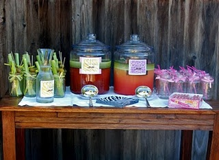 Not alcoholic jungle juice and Bloody Mary's served in mason jars(Margarita's instead)
