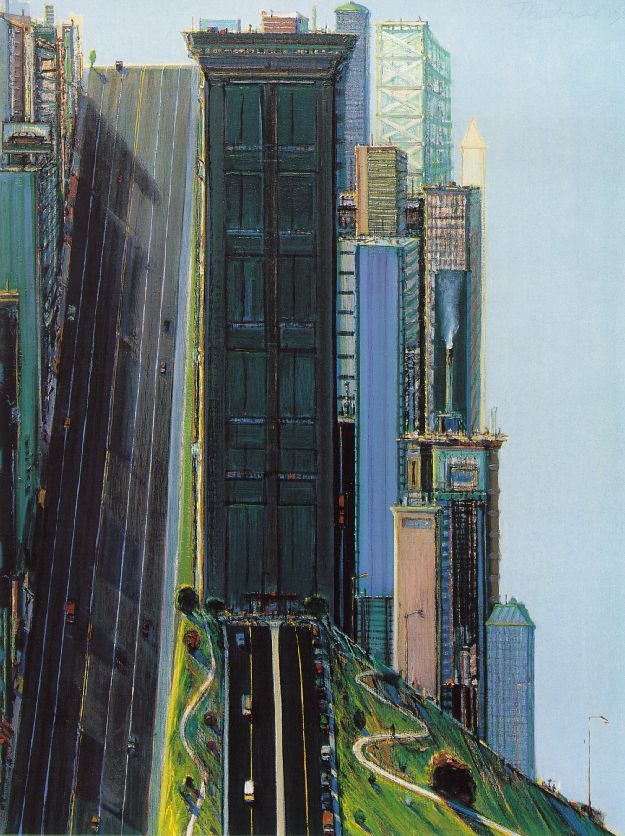 Hill Street (Day City) - Wayne Thiebaud  'Art is not delivered like the morning paper; it has to be stolen from Mount Olympus'. - Wayne Thiebaud: Favorite Artists, 1981, Art Inspiration, Cities, Hill Street, Wayne Thiebaud, Landscape, Wayne Theibaud, Artinspiration