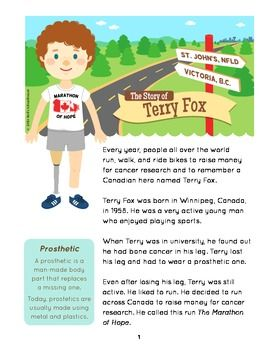 Terry Fox - History Makers - Lesson Packet - This is one story sheet from the packet $