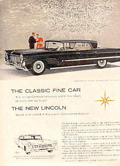 1950 Continental Ford Lincoln Car Ad Elegant (Image1)