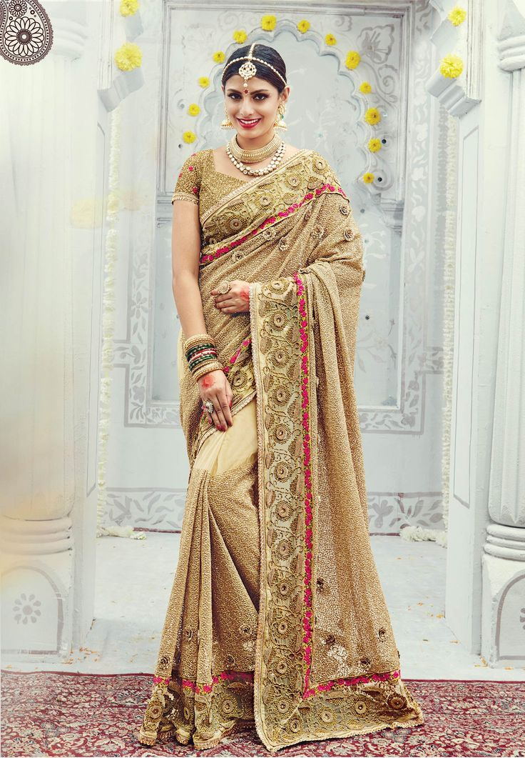 #WeddingSaree Beige Net Wedding Designer Saree with Heavy Sequence-Diamond Work. Buy Now :- https://goo.gl/CJAE0j