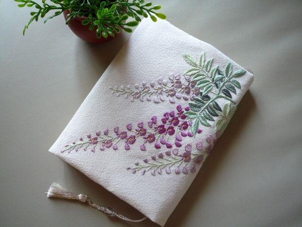 日本刺繍のブックカバー(藤-1)