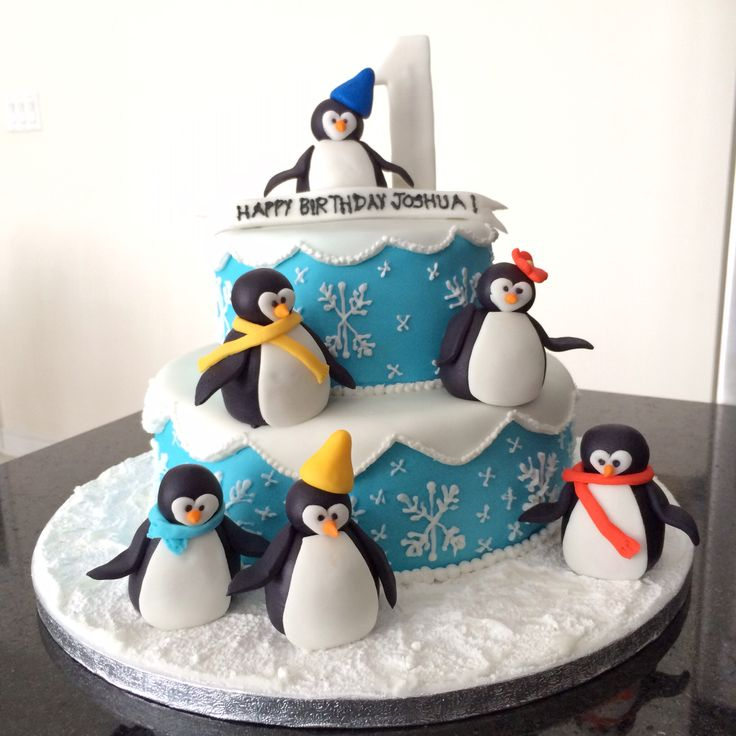 Winter wonderland Cake with Penguins by Mon Tresor Cakes & Cupcakes