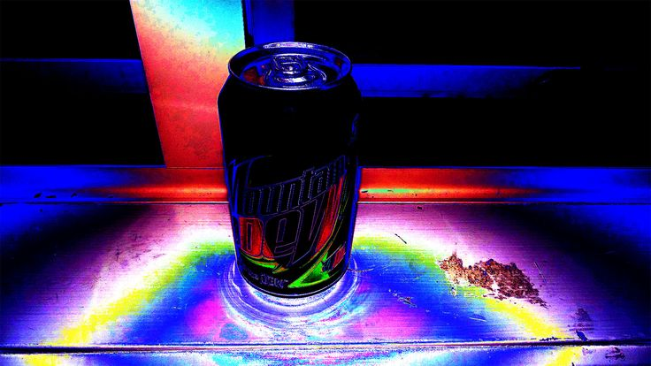 Illuminated mountain dew can