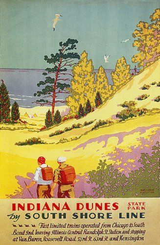 Vintage South Shore Line Train Travel Poster Indiana