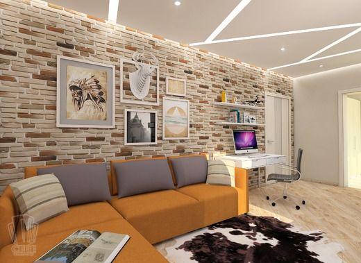Дизайн для молодой пары 91 кв.м. г.Тюмень, 2016 г.. Гостиная