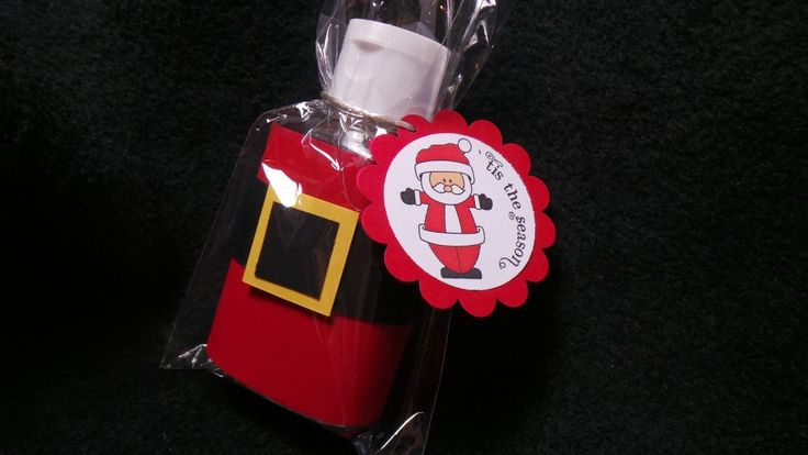 A bottle of hand Santa-tizer: cheap and creative Christmas gift.