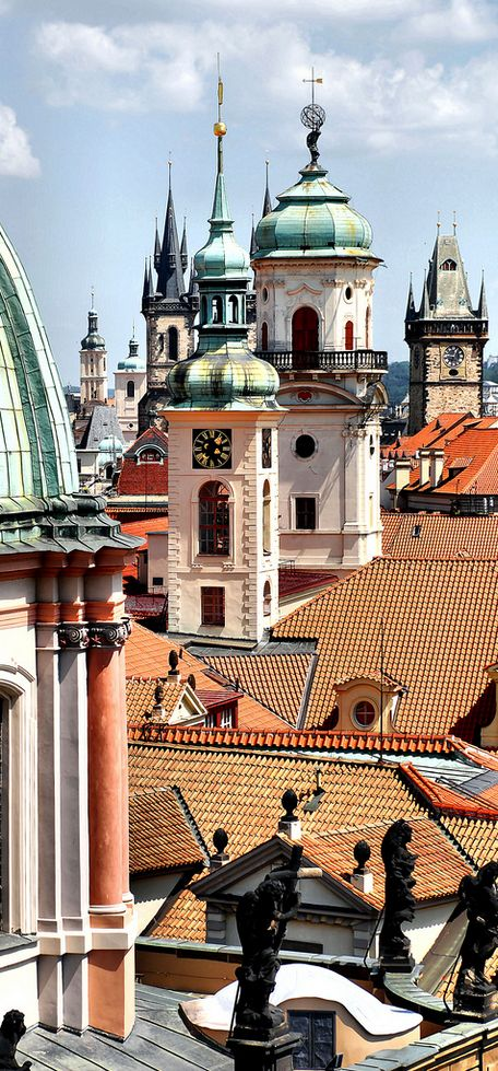 Old Town in Prague - St.Salvator, Klementinum, Old Town Hall, the church of Our lady in front of Týn and St.James church towers, Czechia #Prague #Czechia