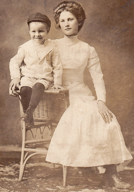 Young Edwardian mother and her boy
