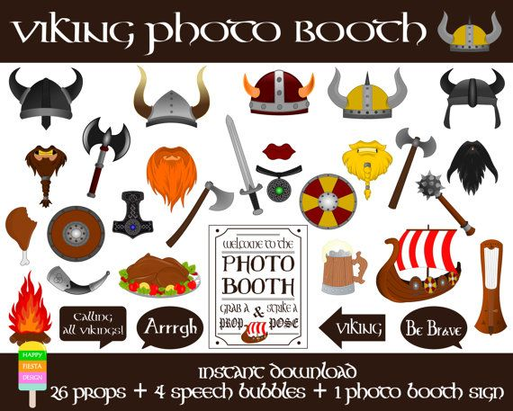 Viking Photo Booth Props-31 Pcs (26 props, 4 speech bubbles, 1 photo booth sign)-Viking Party-Printable Viking Photo Props-Instant Download                                                                                                                                                                                 More