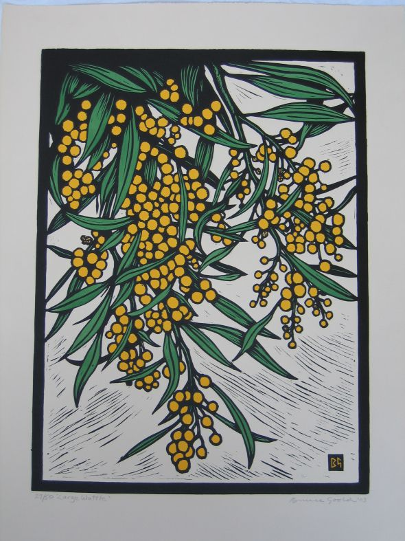 "BRUCE GOOLD "" LARGE WATTLE "" hand-coloured lino-cut , 64 X 44 cms"