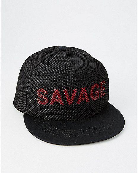 6d96e0335e2c0 Mesh Savage Snapback Hat - Spencer s