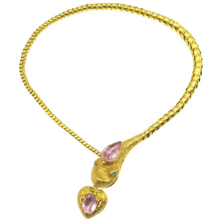 Victorian Gold Snake Necklace   From a unique collection of vintage rope necklaces at https://www.1stdibs.com/jewelry/necklaces/rope-necklaces/