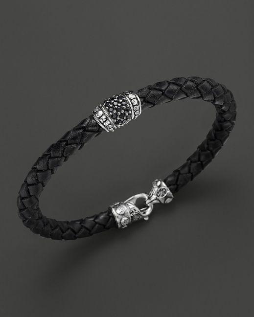 Scott Kay Men's Woven Black Leather Bracelet with Black Sapphire