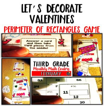 "This Valentine's Day math game is used to help students practice finding the perimeter of rectangles during the Valentine's Day ""season"". I use this game a lot during February each year. Students practice finding the perimeter of rectangles while playing a game at the same time!"