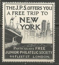 GB/UK London Junior Philatelic Society Win a Trip to New York poster stamp/label
