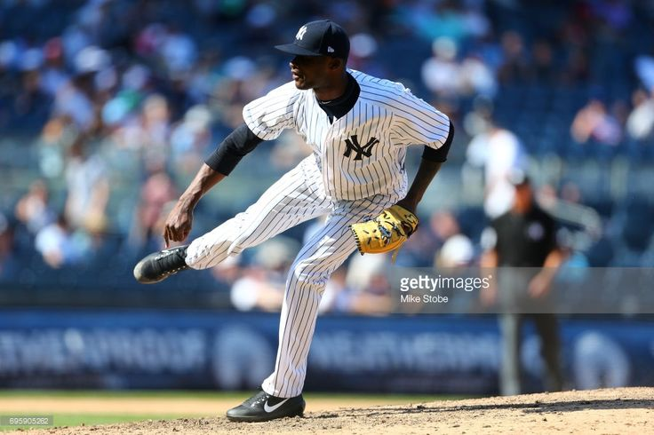 Domingo German #50 of the New York Yankees in action against the Baltimore Orioles at Yankee Stadium on June 11, 2017 in the Bronx borough of New York City. New York Yankees defeated the Baltimore Orioles 14-3