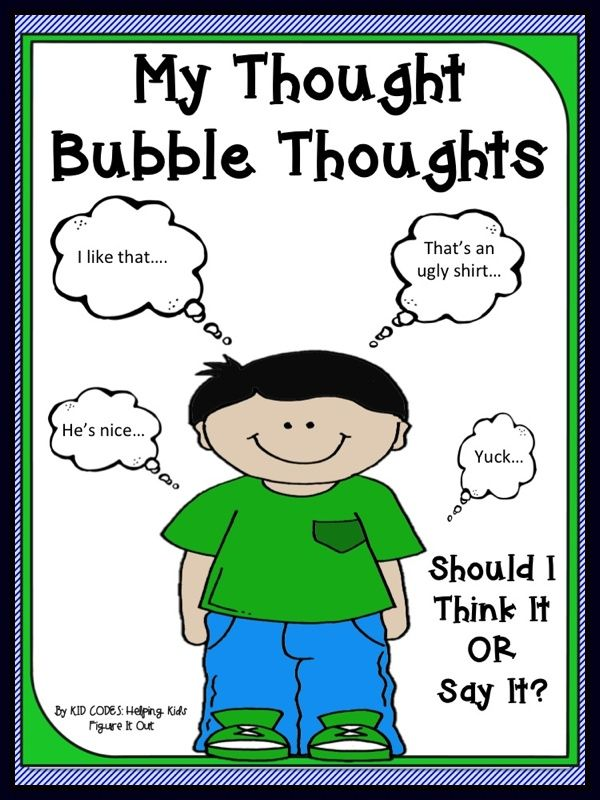"""This is a social story about keeping potentially hurtful thoughts in your """"thought bubble"""" vs. speaking them out loud. Some children benefit from explicit teaching of this important skill. Read this story and talk about why it is so important to think about what you say and make decisions about what you should or should not say."""