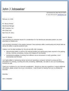 Warehouse Associate Cover Letter