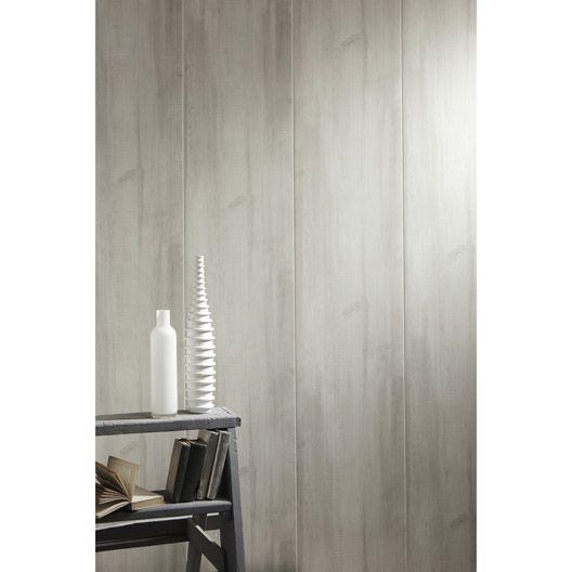 Lambris pvc imitation bois bois rabot gris grosfillex for Lambris pvc mural salle de bain