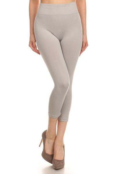 Basic Capri Leggings Light Grey