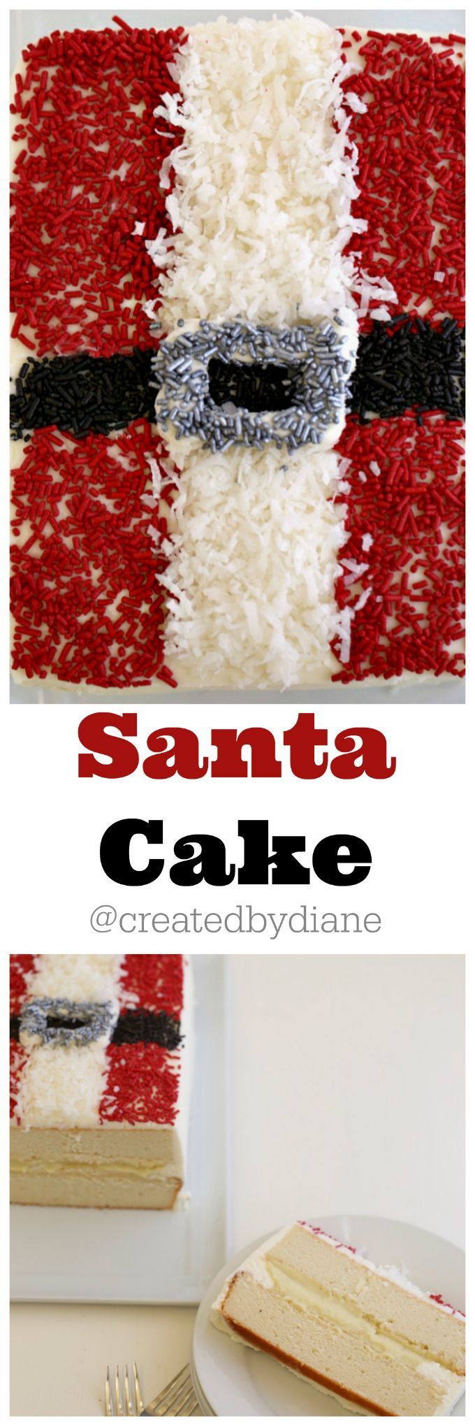 Santa Claus is comin' to town! Here's a whimsical Christmas cake that's sure to please all Santa and coconut lovers alike.   I can't resist coconut the more the better for me. Sweet, chewy, bursting with flavor... I've loved it as long as I can remember. the more the better for me! I made this cake and FILLED it with creamy coconut custard. @createdbydiane