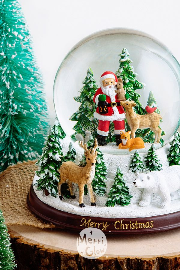 120mm Santa Woodland Forest Snow Globe For Holiday Gifting And Home Decor Snow Globes Wallpaper Iphone Christmas Christmas Snow Globes