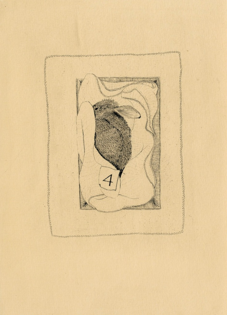 The Hüberman Children and Rabbit (plate five) // copper etching // Eleanor Phillips