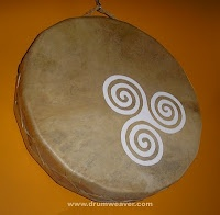 """a shamanic ocean drum with a celtic triskel""... a two-sided drum i created that sounds like the ocean... http://www.drumweaver.blogspot.ca/2010/10/shamanic-ocean-drum-with-celtic-triskel.html#axzz1sKXzP8n8"
