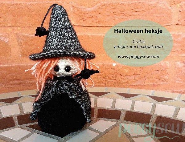 #haken, gratis patroon, Nederlands, Halloween, heksje, amigurumi, sleutelhanger, tashanger, decoratie, #haakpatroon