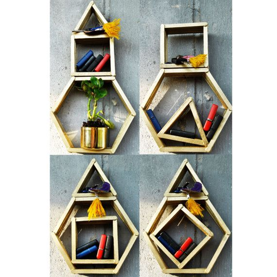 SET of 3 WOODEN wall organizers wall shelf wooden rack