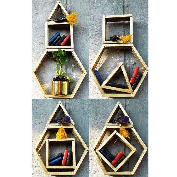 SET of 3 WOODEN wall organizers wall shelf wooden rack