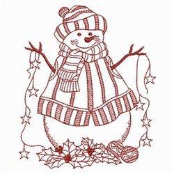 Redwork Starry Snowman embroidery design
