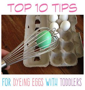 Let toddlers join in by using a spatula to dye the eggs so they don't get crushed!