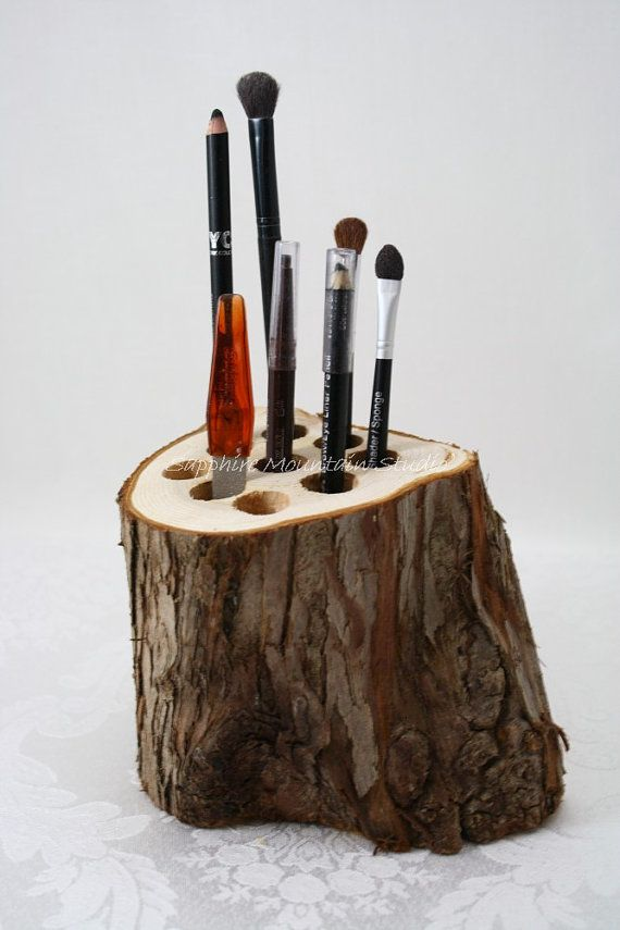 Rustic log organizer makeup holder wood by for Log ideas