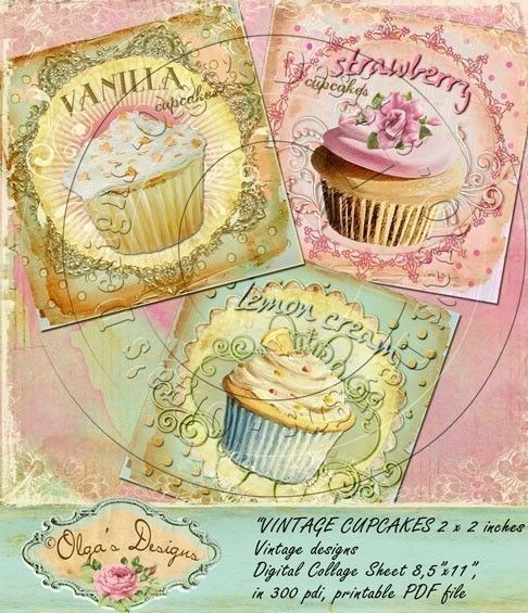 CUPCAKES 2 x 2 inch square images, Digital Collage Sheet, in 300 pdi, printable PDF file